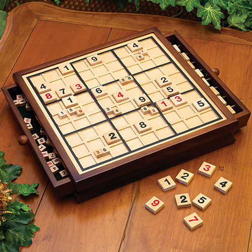 Deluxe Wood Sudoku Game Board & Tray