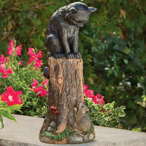 Cat & Mouse Animal Garden Sculpture