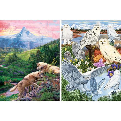 Set of 2: Prebox Snowy Owl Sanctuary/Hidden Wolves Valley 1000 Piece Jigsaw Puzzles