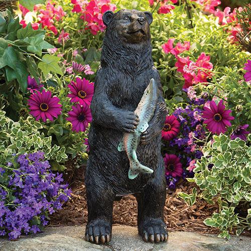 Motion Sensor Black Bear Garden Sculpture