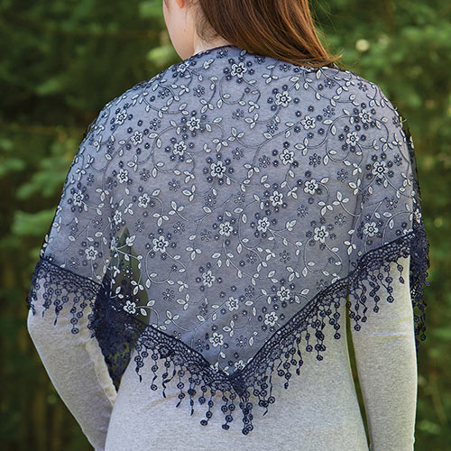 Lace Droplets Scarf - Midnight Blue