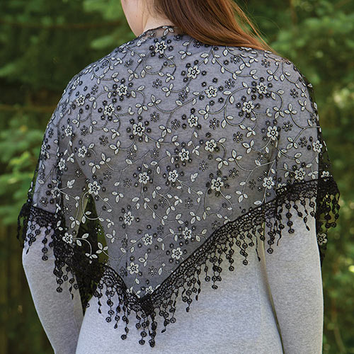 Lace Droplets Scarf - Black