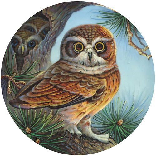 Owl and Chicks 500 Piece Round Jigsaw Puzzle