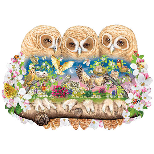 Owlets in the Moonlight 300 Large Pieces Shaped Puzzle