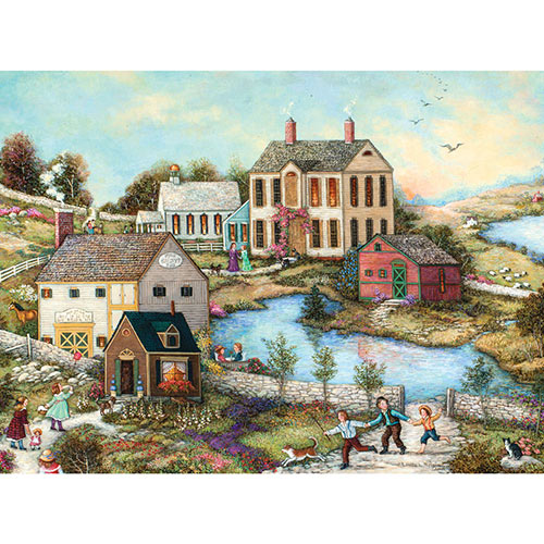 Three Kids Running Holding Hands 500 Piece Jigsaw Puzzle