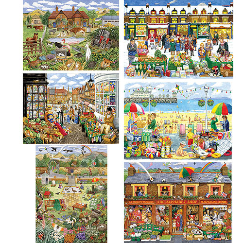 Set of 6: A to Z Find-It 500 Piece Jigsaw Puzzles