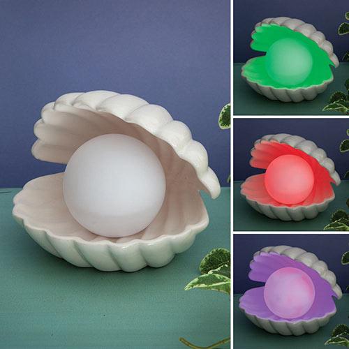 Ceramic Clam and Pearl LED Decorative Lamp
