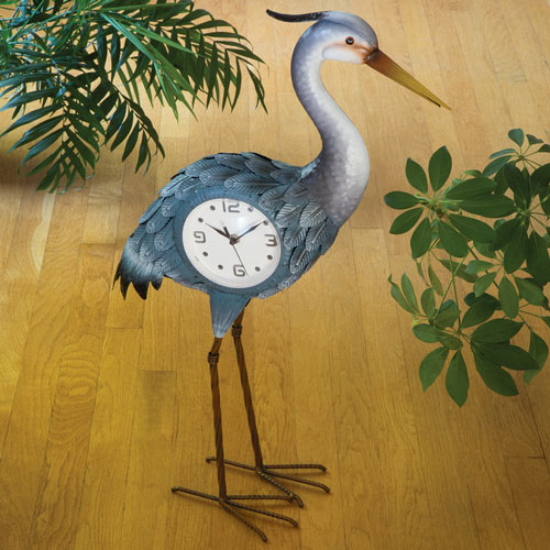 Great Grey Heron Clock Sculpture