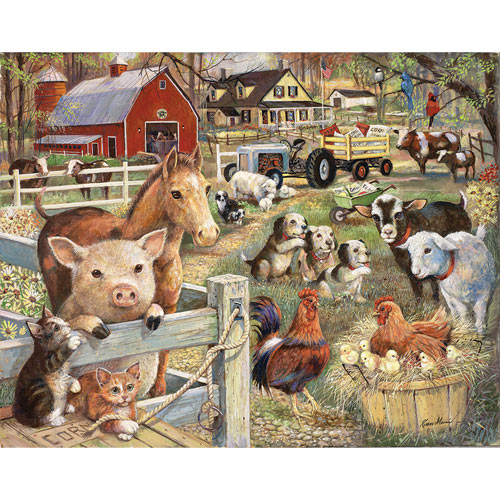 Youngsters In The Farmyard 500 Piece Jigsaw Puzzle