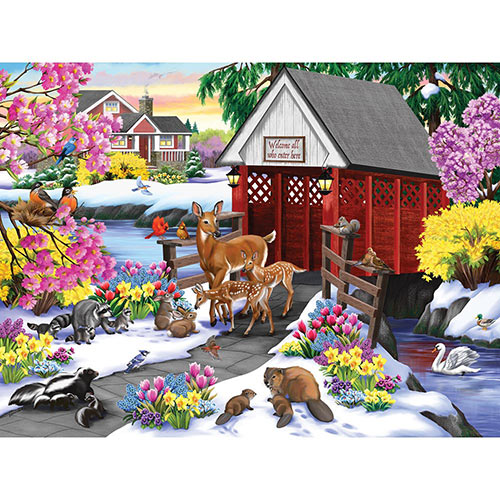 The Little Red Bridge 300 Large Piece Jigsaw Puzzle