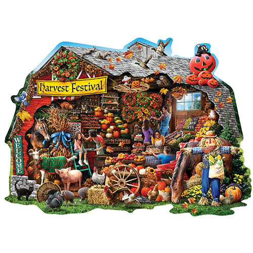 Fall Harvest Barn 300 Large Piece Shaped Jigsaw Puzzle