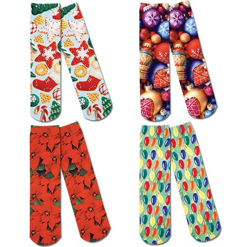 Set of 4: Festive Holiday Printed Crew Socks