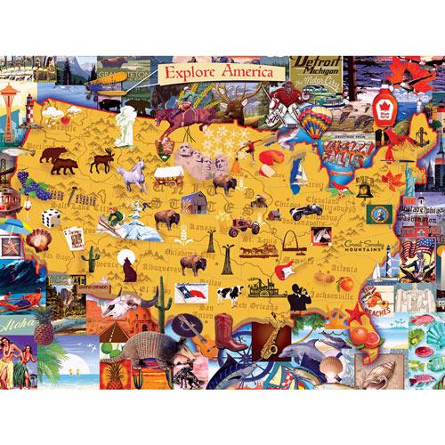 Explore America 500 Piece Giant Jigsaw Puzzle