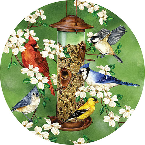 Backyard Feeder 300 Large Piece Round Jigsaw Puzzle