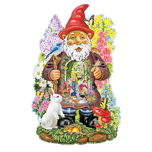 Inside Gnome Garden 300 Large Piece Shaped Jigsaw Puzzle