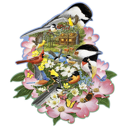 Woodland Chickadees 750 Piece Shaped Jigsaw Puzzle
