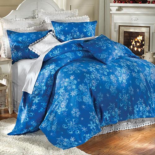 Winter Snowflake Fleece Blankets and Bedding Set