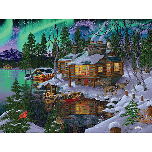 Northern Lights Cabin 300 Large Piece Jigsaw Puzzle