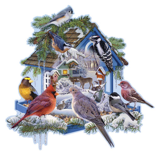 Winter Bird Feeder 300 Large Piece Shaped Jigsaw Puzzle