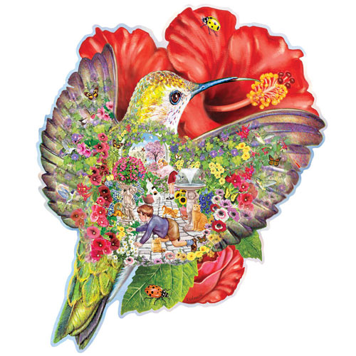 Hummingbird Garden Shaped 750 Piece Shaped Jigsaw Puzzle