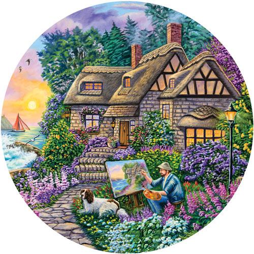 Painter's Cottage 300 Large Piece Round Jigsaw Puzzle