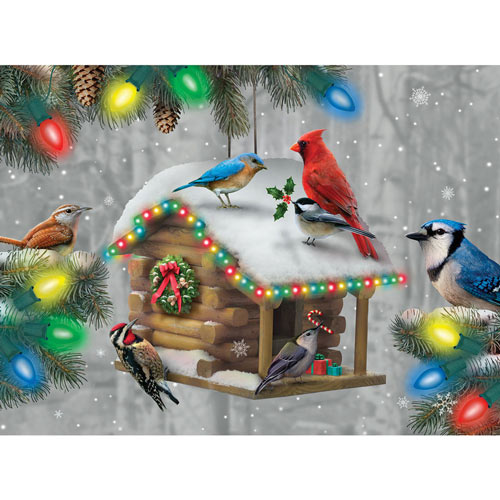 Festive Feathered Friends 300 Large Piece Glow-In-The-Dark Jigsaw Puzzle