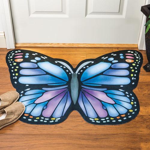 Blue Butterfly Floor Mat