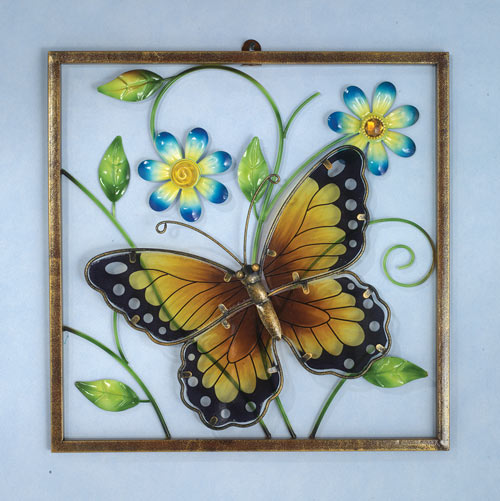 Framed Butterfly Window Wall Decor