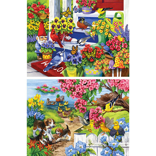 Set of 2: Pre-Boxed Nancy Wernersbach 300 Large Piece Jigsaw Puzzles