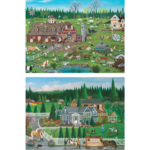 Set of 2: Pre-Boxed Cindy Mangutz 1000 Piece Jigsaw Puzzles