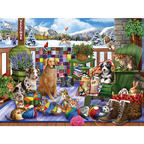 Porch Pets Fun 500 Piece Jigsaw Puzzle