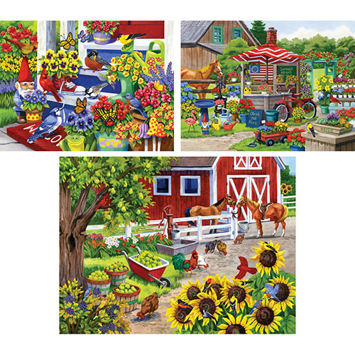 Set of 3: Pre-Boxed Nancy Wernersbach 500 Piece Jigsaw Puzzles