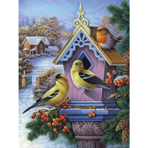 Goldfinches And First Snow 300 Large Piece Jigsaw Puzzle