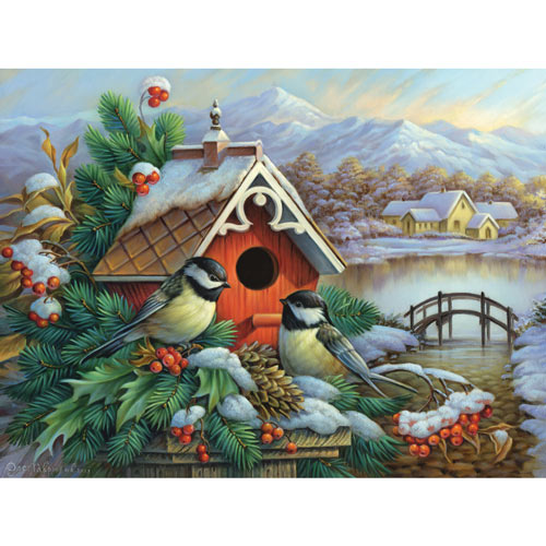 Red Birdhouse And Chickadees 300 Large Piece Jigsaw Puzzle