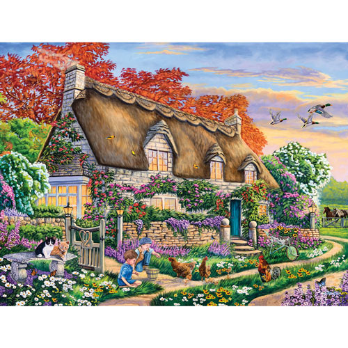 Feeding The Chickens 500 Piece Jigsaw Puzzle