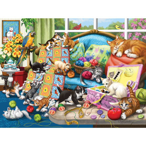 Sewing Room Mischief 300 Large Piece Jigsaw Puzzle