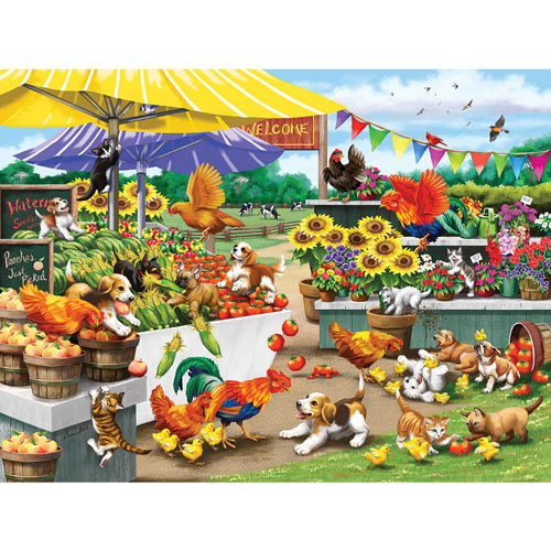 Mischief At The Farm Stand 500 Piece Jigsaw Puzzle