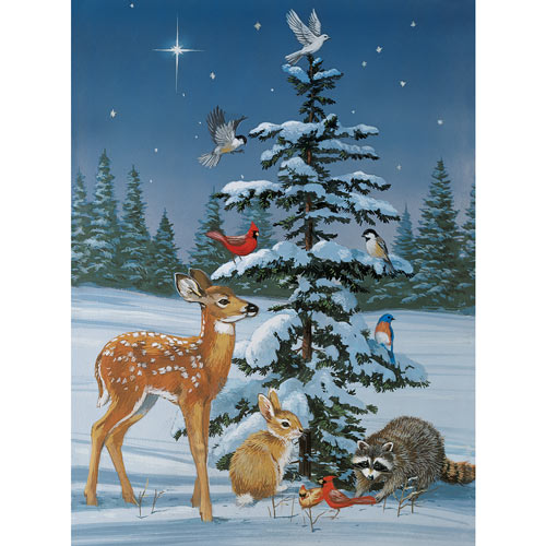 Snowy Christmas Gathering 300 Large Piece Jigsaw Puzzle