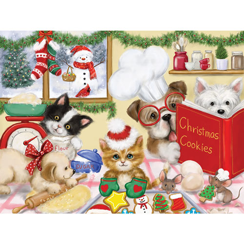 Dogs And Cats Making Christmas Cookies 500 Piece Jigsaw Puzzle