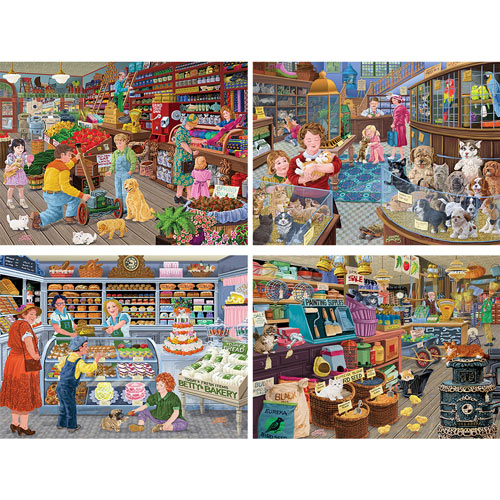 Set of 4: Joseph Burgess 1000 Jigsaw Puzzles