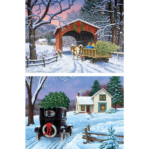 Set of 2: Prebox John Sloane 500 Piece Winter Jigsaw Puzzles