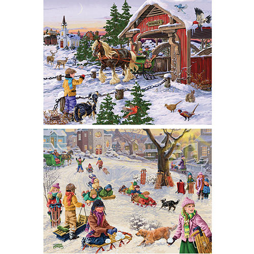 Set of 2: Pre-Boxed 300 Large Piece Holiday Jigsaw Puzzles
