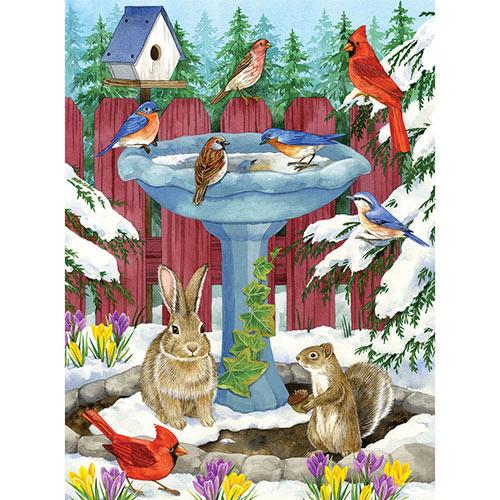 Frozen Birdbath 1000 Piece Jigsaw Puzzle