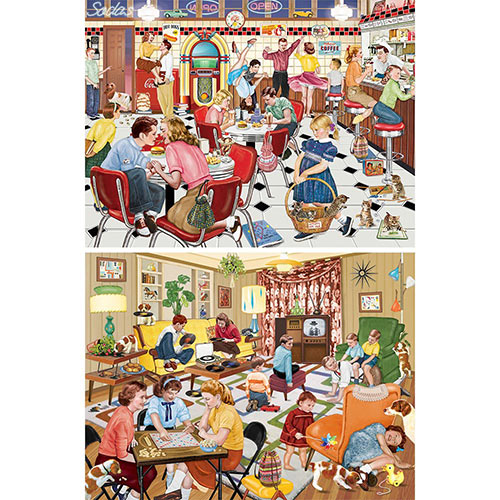 Set of 2: Nostalgic 500 Piece Jigsaw Puzzles