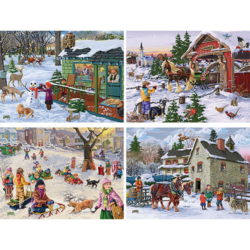 Set of 4: Joseph Burgess 300 Large Piece Winter Jigsaw Puzzles