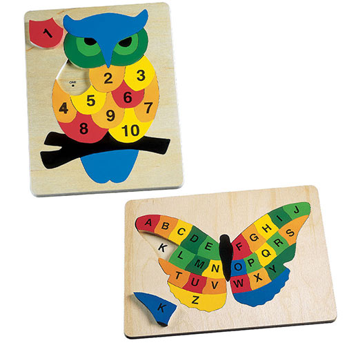Set of 2: Alphabet Butterfly & Counting Owl Wooden Puzzles