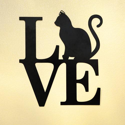 L-O-V-E Cat Silhouette Wall Plaque