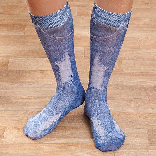 Distressed Denim Trouser Socks