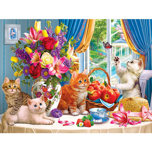 Fluffy Kittens In The Living Room 500 Piece Jigsaw Puzzle