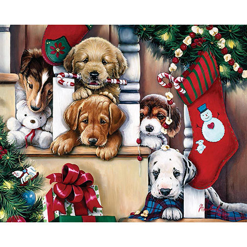 Christmas Puppies on the Loose 300 Large Piece Jigsaw Puzzle